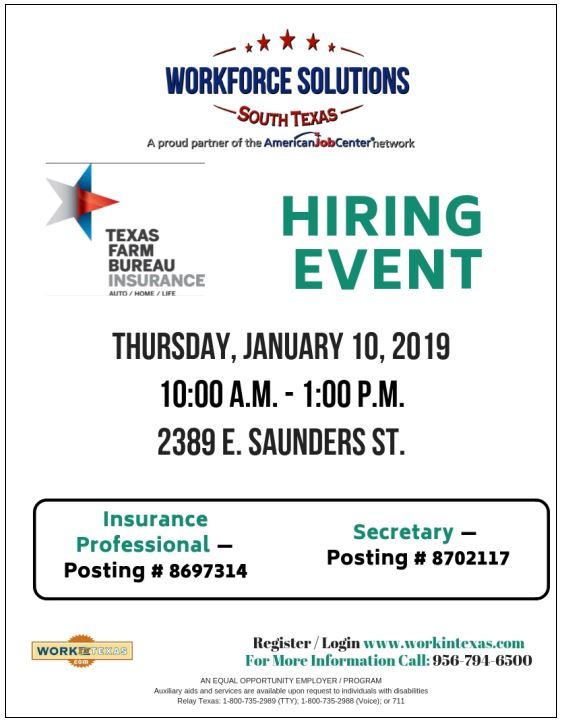Workforce Solutions Texas Farm Bureau Insurance Hiring Event